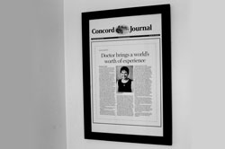 Concord Journal at entrance of Walden Pond Pediatrics